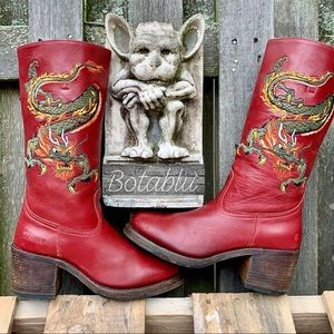 SENDRA RARE Vintage Dragon Red Leather Chunky Boot